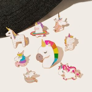 New 8 Pc Unicorn Brooch Set